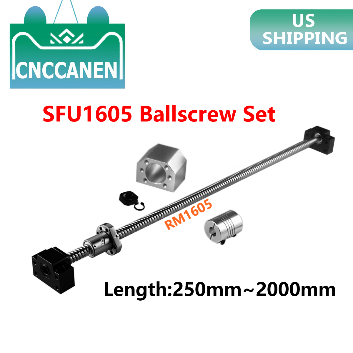 CNC SFU1204-350mm Ball Screw /& BK//BF10 with 6.35x8mm Coupler Set Kits
