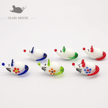 6pcs Handmade white murano glass rat statue charms Home desktop decoration miniature glass mouse Figurines ornaments accessories