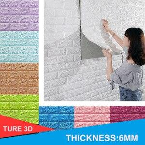 Image 1 - 3D Muurstickers Imitatie Baksteen Slaapkamer Decor Waterdicht Zelfklevend Behang Voor Woonkamer Keuken Tv Achtergrond Decor