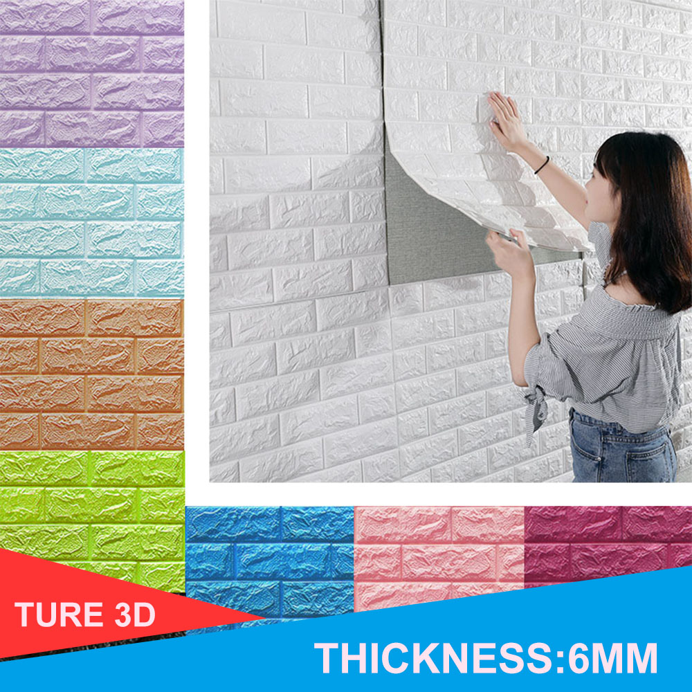 3D Wall Stickers Imitation Brick Bedroom Decor Waterproof Self-adhesive Wallpaper For Living Room Kitchen TV Backdrop Decor(China)