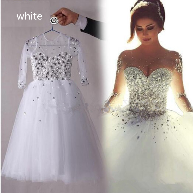 White Girls First Communion Dresses Vestidos De Comunion Beading Crystal Long Sleeve Flower Girl's Dress Pageant Gown