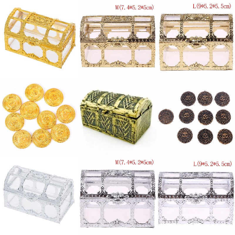 1X Best-selling Pirate Treasure Chest Pirate Coins Gags Practical Joke Toy Kids Party Favor Supply Props Bag Toys Gift