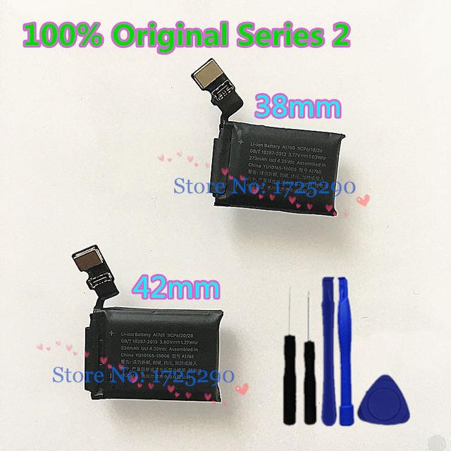 """100% נבדק מקורי A1760 A1761 סוללה עבור אפל שעון 2 סדרת 2 38mm 273mAh A1757 A1816 42mm 334mAh A1758 A1817 + """"Y"""" כלי"""