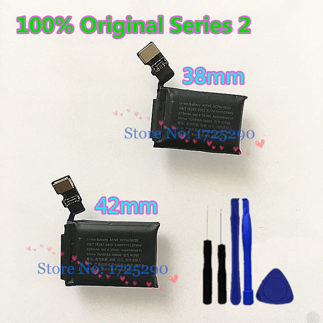 """100% Tested Original A1760 A1761 Battery For Apple watch 2 Series 2 38mm 273mAh  A1757 A1816 42mm 334mAh A1758 A1817 + """"Y"""" Tool"""