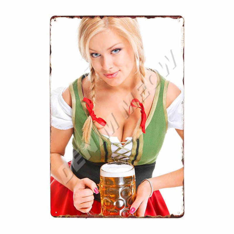 Spille Up Girl Birre In Metallo Targa In Metallo Vintage Poster Da Parete Sexy Della Signora Bevande Fredde Shabby Chic Placca Pub Club Casino stampa Decor WY123