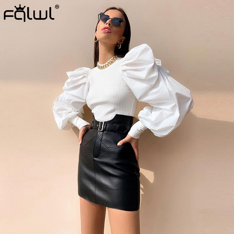 FQLWL Autumn Winter Ribbed Knitted Sweater Women Shirt 2019 Patchwork Puff Sleeve Black Sweater Female Pullovers Ladies Jumpers
