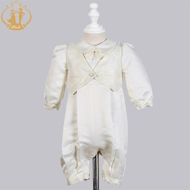 Zwinny Boys Baby chrzciny suknie Satin formalna okazja chłopcy Romper noworodków ubrania Ivory dzieci chrzest sukienki 0 12M