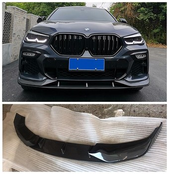 Carbon Fiber Car Spoiler Bumper Front Lip +Rear Bumper Lip Diffuser Side skirts Protector Fits For BMW X6 G06 2019 2020 2021 image