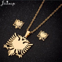 Jisensp Punk Albanian Eagle Necklaces Pendants for Women Stainless Steel Jewelry Sets Ethnic Animal Necklace Collares Wholesale(China)