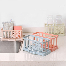 Plastic Draining Storage Racks Kitchen Sponge Brush Holders  Bathroom Soap Shelf Organizer Accessories Supplies