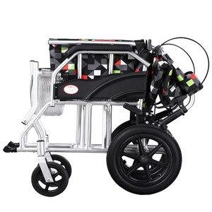 Image 4 - 車いす高齢者のためのポータブル車椅子ulti機能折りたたみライトレジャー手すり小旅行アルミ合金無効