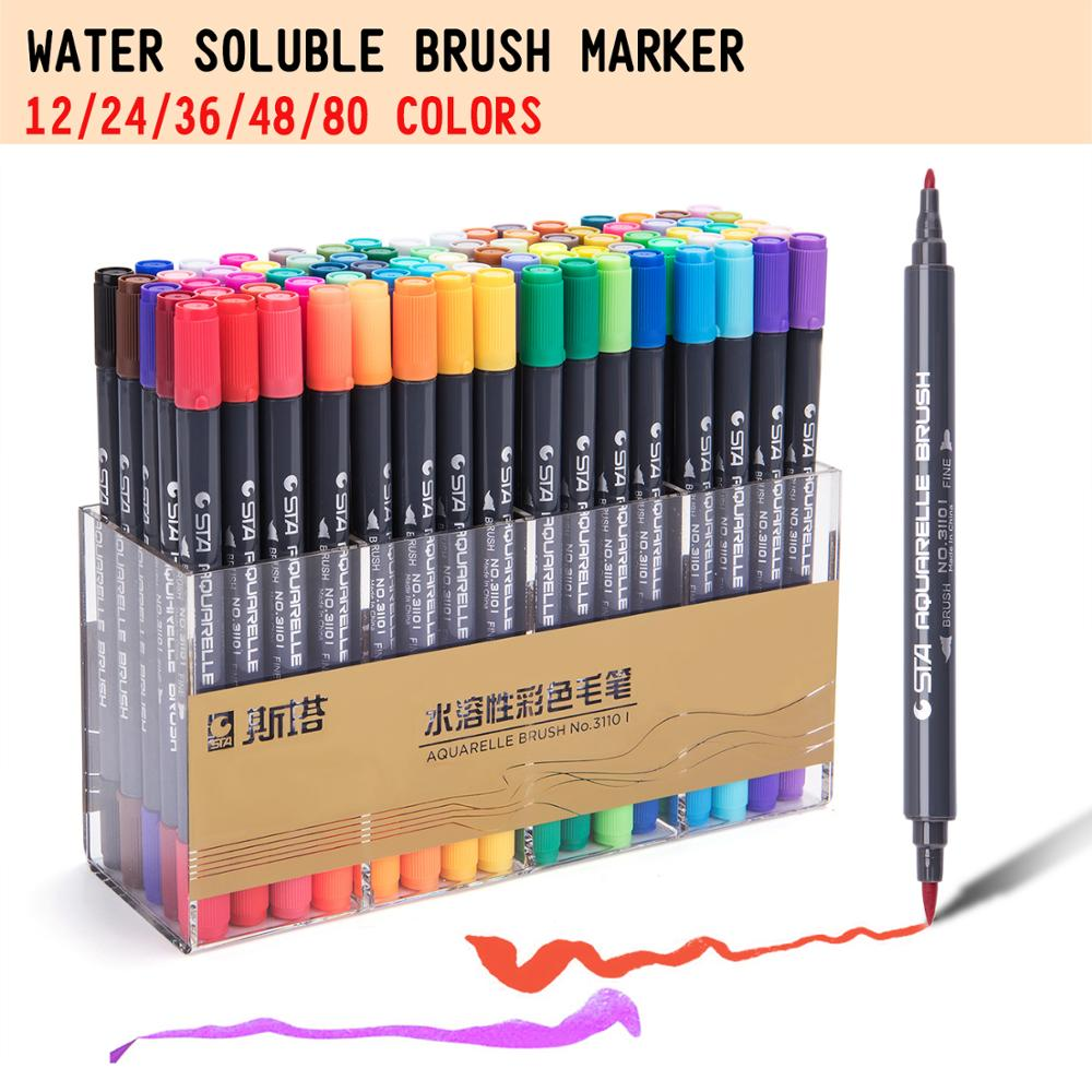 STA 80 Colors Water Soluble Colored Marker Brush Pen Double Head Artist Sketch Set For Drawing Design Paints Art Marker Supplies