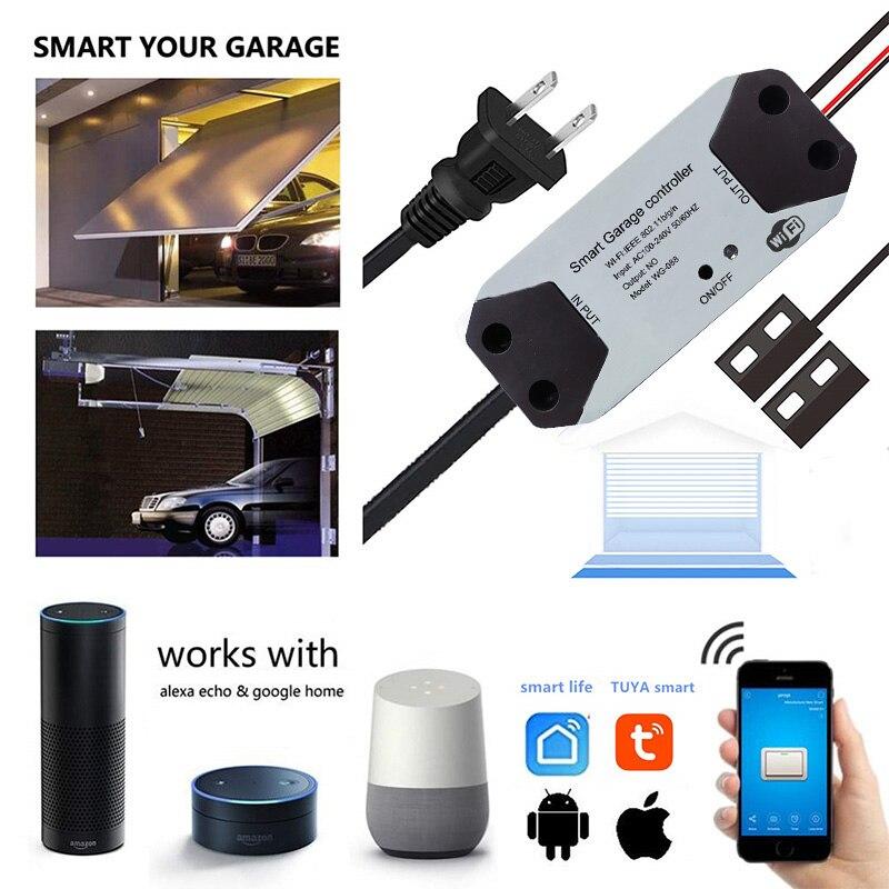 Wofea WiFi Switch For Garage Door Opener  Tuyasmart Smart Life APP Controller Work With Alexa Google Home