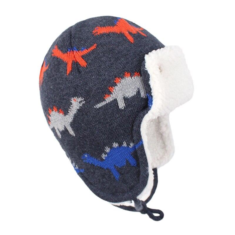 Bomber Hat Boy Winter Knit Beanie Kid Autumn Earflap Dinosaur Cute Warm Skiing Cotton Fleece Outdoor Accessory Toddler Baby (1)