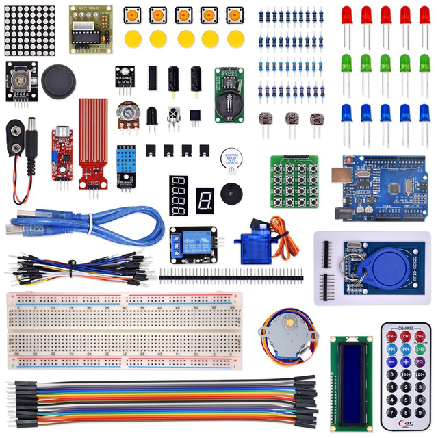 RFID החדש ערכת המתחילים Arduino R3 משודרג גרסה חבילת למידת עם תיבה הקמעונאי
