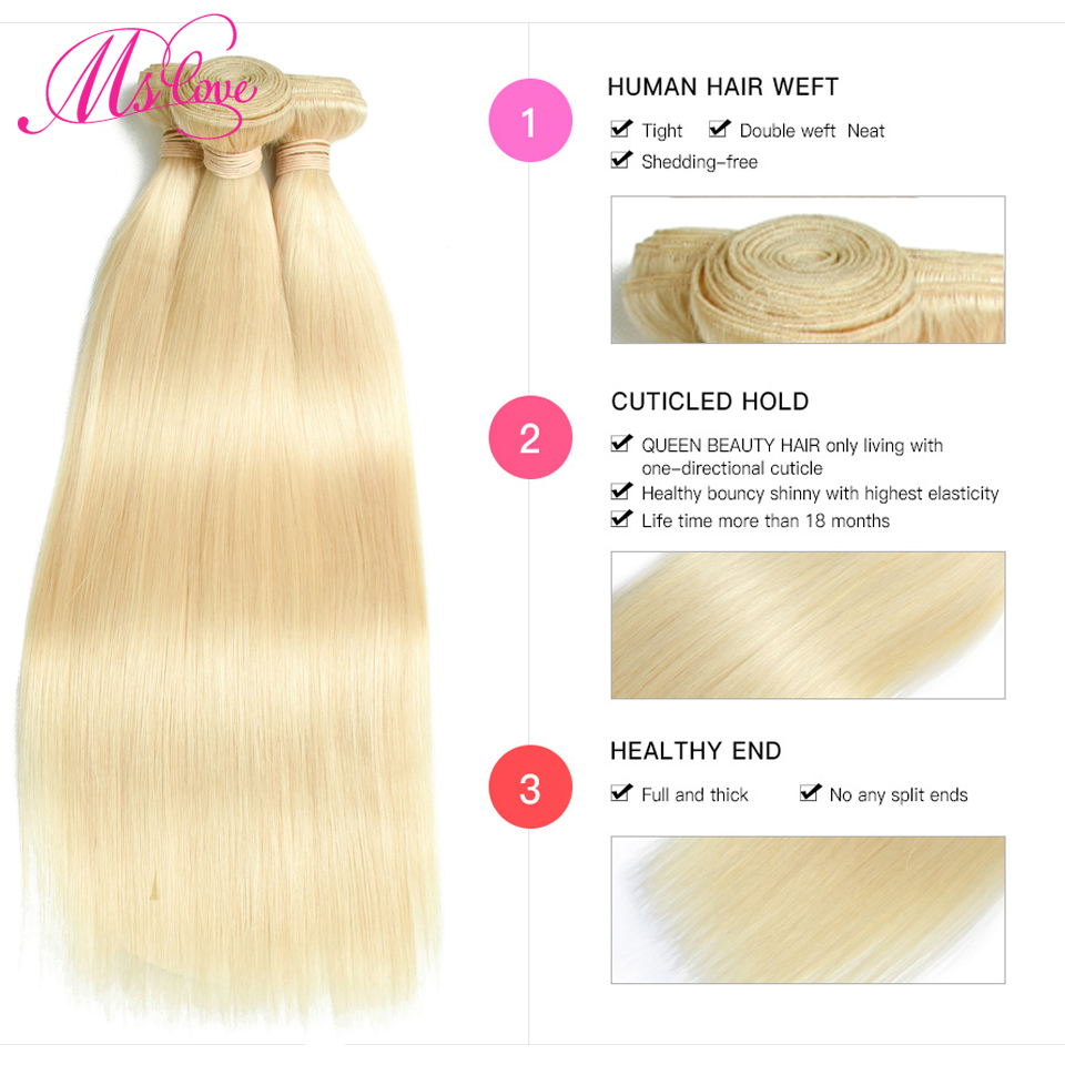 Image 4 - Blonde 613 Bundles Straight Human Hair Brazilian Hair Weave Bundles 1 2 3 4 Bundles Remy Hair Mslove Can Be Dyed Any ColorHair Weaves   -