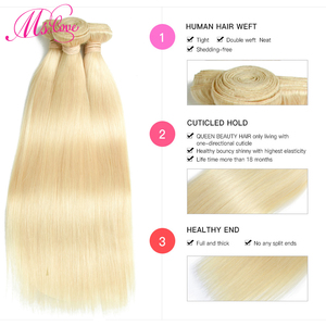 Image 4 - Blonde 613 Bundles Straight Human Hair Brazilian Hair Weave Bundles 1 2 3 4 Bundles Remy Hair Mslove Can Be Dyed Any Color