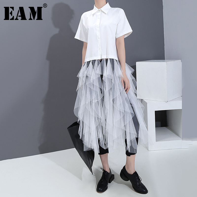 [EAM] Women White Mesh Ruffles Split Joint Blouse New Lapel Short Sleeve Loose Fit Shirt Fashion Tide Spring Summer 2020 1S540