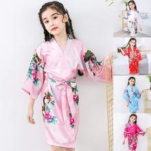 Baby Girl Silk Satin Top Pant Floral Printing Pajamas long sleeve Solid Button-Down Pajamas Satin Set Child Sleepwear Nightgown