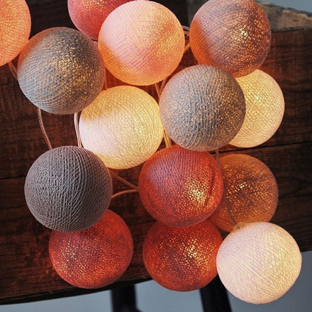 20pcs/set Cotton Ball Wave String Lights Fairy Lamp LED Battery Powered Lighting Party Wedding Holiday Music Festival Decor Sale