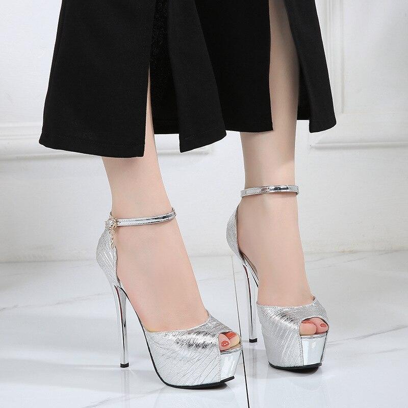 Women Sandals Fashion New Peep-toe Platform(4.5cm) Pumps Shoes Thin 14cm High Heels Solid Party Sexy Ladies Club Female Sandals