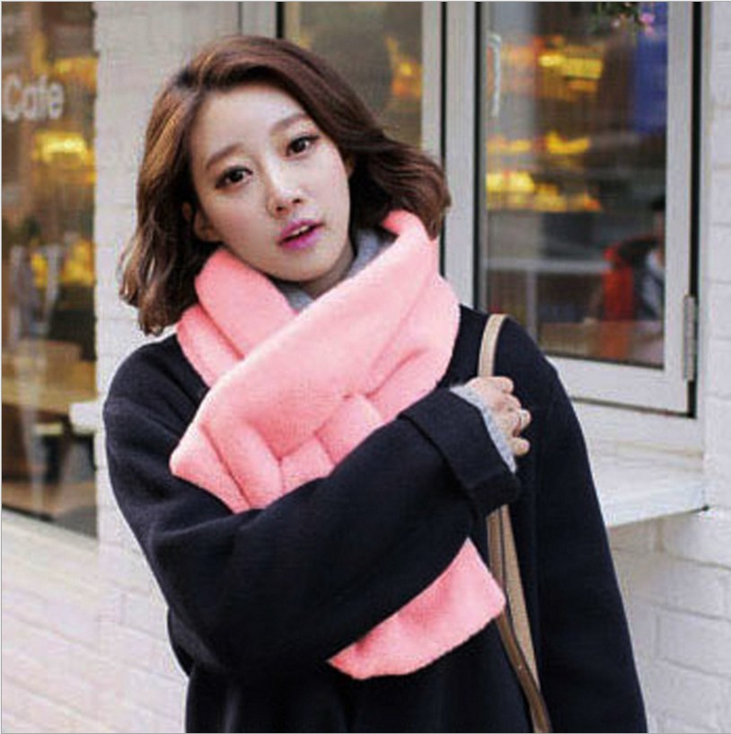 Korean-style New Style Listed Scarf Winter Style Imitation Rabbit Fur Scarf Thick Warm Solid Color Scarf