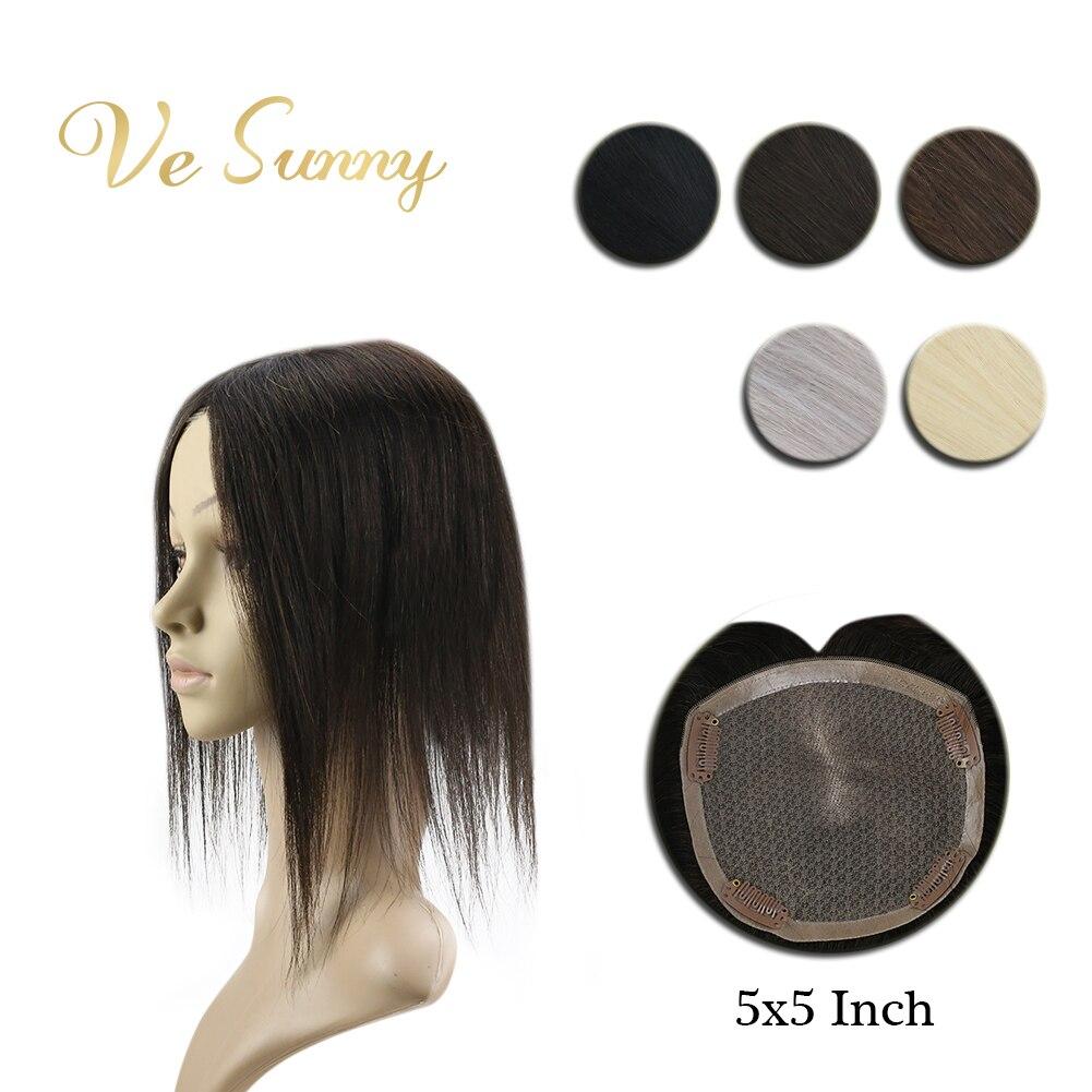 Coroa de Vesunny Feito à Mão Peruca com 4 Hairpiece Mono Base Topper Real Cabelo Humano Clipes 5×5 Polegadas Cor Sólida Preto Marrom Blodne