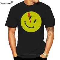 Camiseta con botones ensanchados para hombre, camiseta de héroes de Watchmen, cómico, Comic, TV, sonrisa, película, ropa