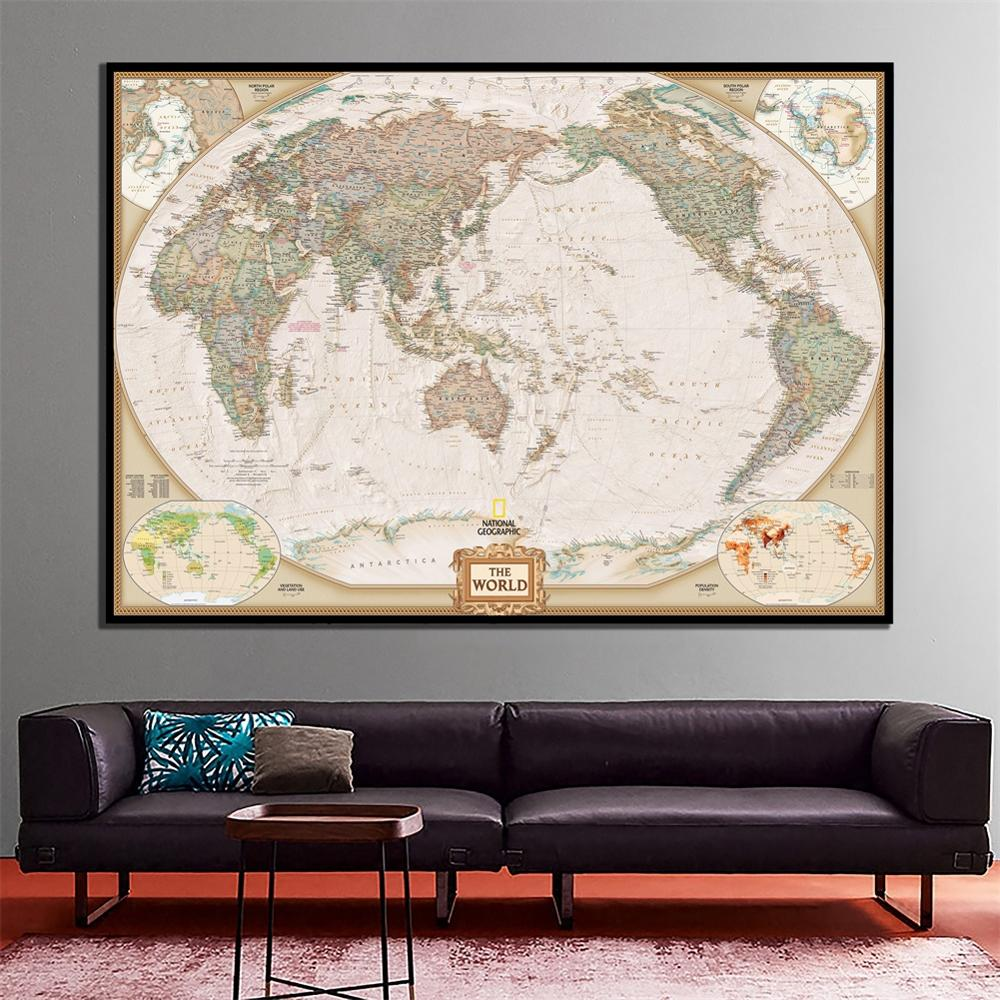 24x36cm National Geographic World Map Revised June 2011 For Home Wall Decor And Learn Education