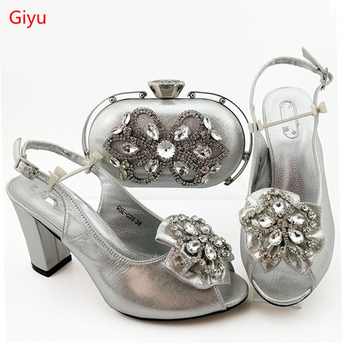 doershow Italian Shoes with Matching Bags Italian Design silver African Nigeria Shoes and Bag Set for Parties for Women HIA1-39
