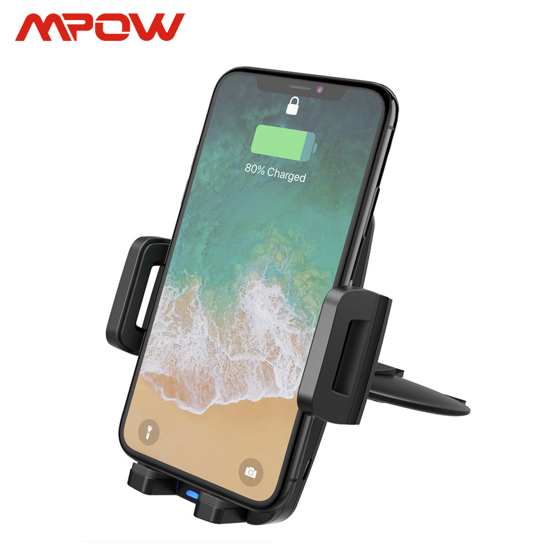 Mpow CA108 2 in 1 10W/7.5W/5W Qi Wireless Charger CD Slot Car  Phone Holder Stand For iPhone X 8/Plus Samsung S9 S8 S7 S6 Note 8Phone  Holders