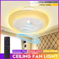 Ceiling Fans With Led Light Remote Control Modern Dimmable RGB Ceiling Fan Light Bedroom Livingroom Flush Mount Lighting Fixture