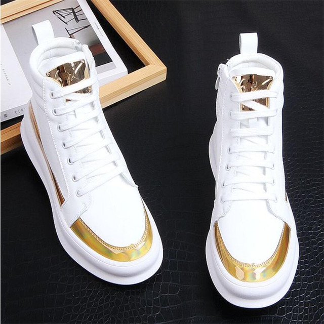 Zapatillas de deporte de lujo para hombre, zapatos altos informales de microfibra, botas de cuero, a la moda, primavera y otoño, novedad de 2020 1