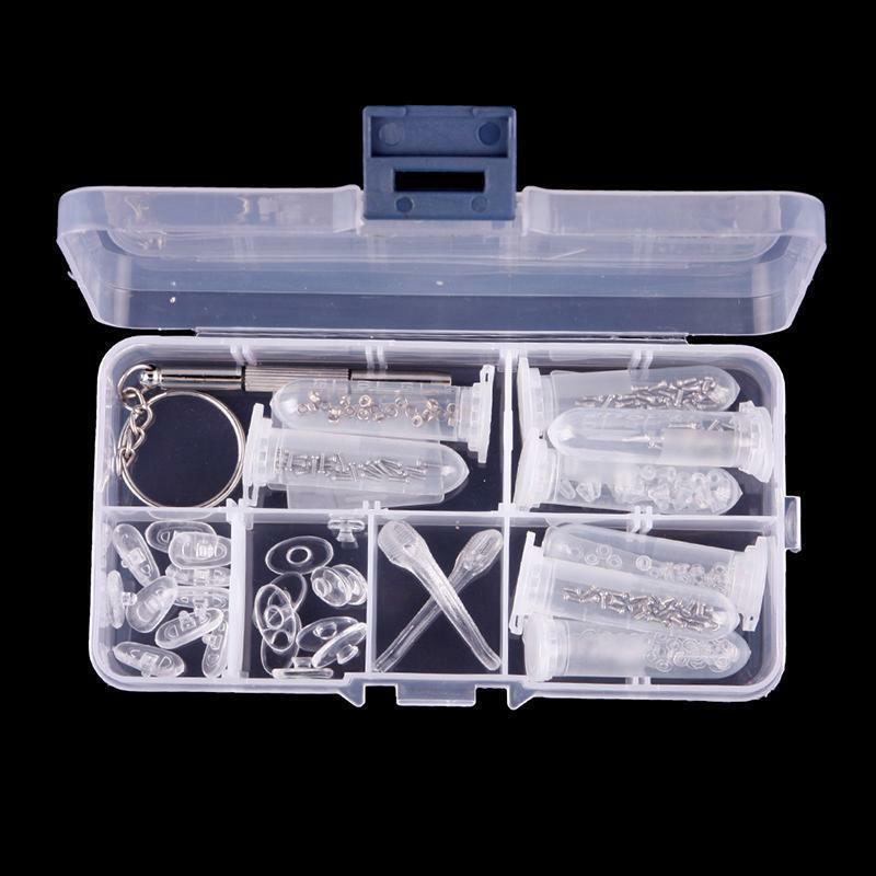 Eyeglass Repair Kit | 1 Box Package Optical Glasses Repair Kit Eyeglass Repair Screws Tool Box Eyeglass Sunglasses Screw Nut Nose Pad Assortment Set