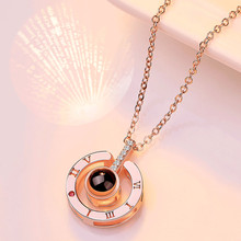 925 Sterling Silver Necklace Women One Hundred Languages I Love You Romantic Projection Necklace Pendant Anniversary Gift цена