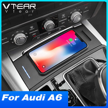 Vtear Car QI Wireless Charger For Audi A6 C7 A7 2012-2018 Accessories Interior Modification