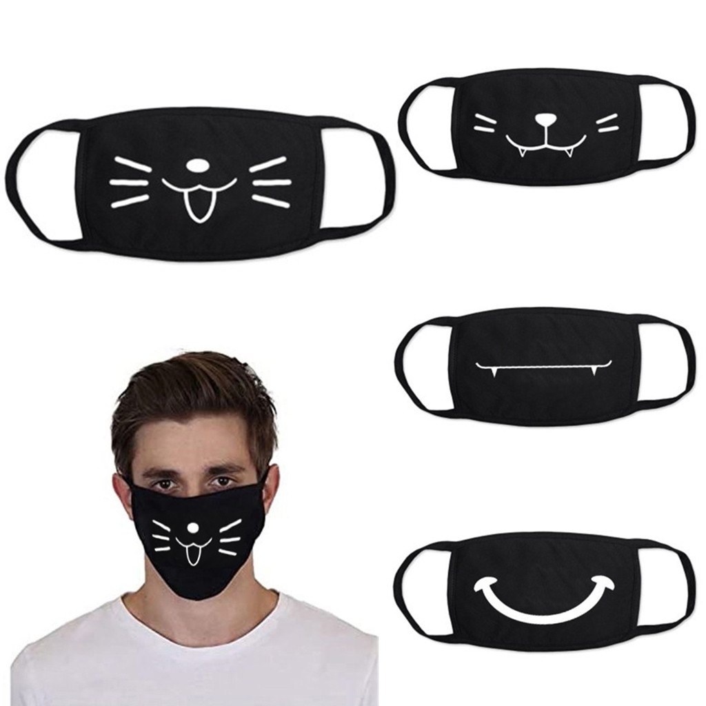 Cute Cotton Dust-Proof Mouth Face Mask Cat Smile Printing Washable Breathable Mouth Mask Cover Reusable Face Mouth Face Mask
