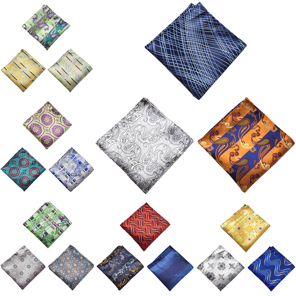 3 Packs Men Paisley Floral Pocket Square Colorful Handkerchief Wedding Hanky
