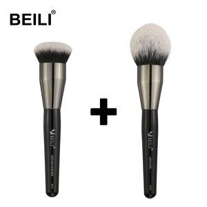 BEILI завитые черные ручки, мягкие синтетические волосы, выделяющие пудру, крем, основа, 2 шт., коробка для кистей, упаковка