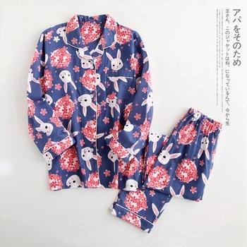 Women Printed Cartoon Rabbit Pyjamas Women 100% Cotton Fresh Pajamas Sets Long Sleeve Casual Sleepwear Autumn Japanese Homewear fresh leaf pyjamas women 2020 autumn fall stitch pijamas set 100