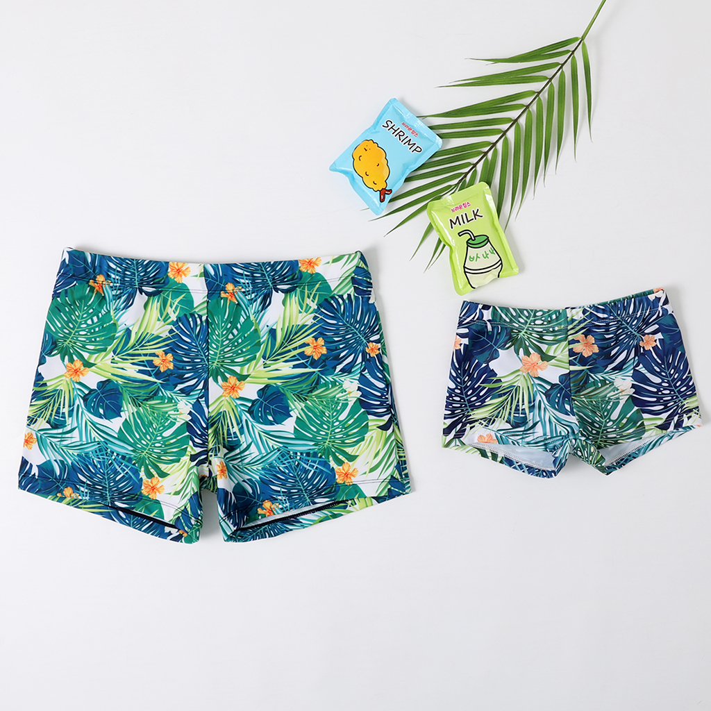 2020 New Baby Boys Swimming Trunks Dad And Me Beach Shorts Family Beachwear Board Trunks Surfer SwimwearTropical Short Pants