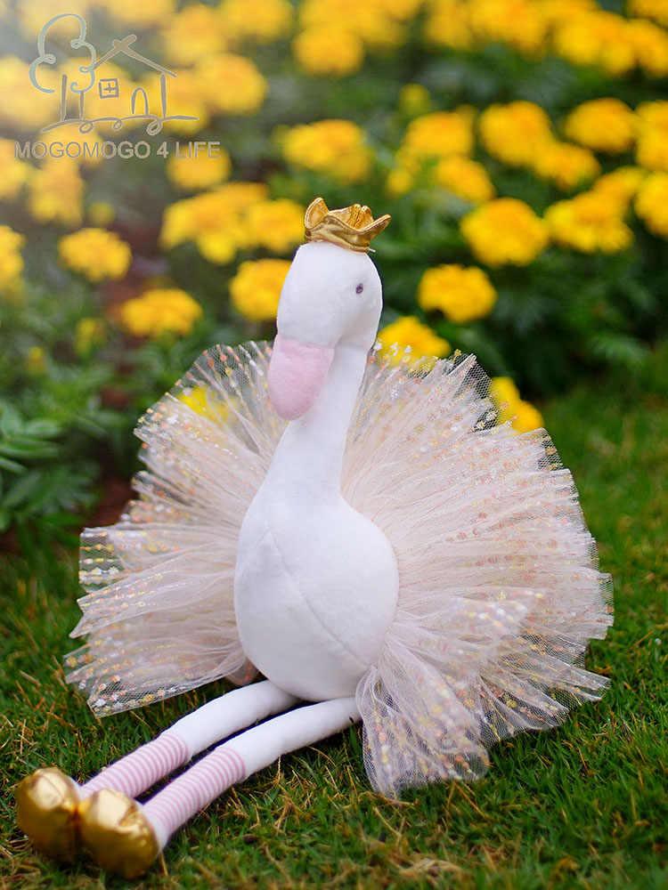 Luksusowe Mogo sukienka Swan wypchane zabawki pluszowe-zwierzęta z brokatem Tutu skrzydła piękny prezent urodzinowy dla dziewczyny miękka akcesoria do domu