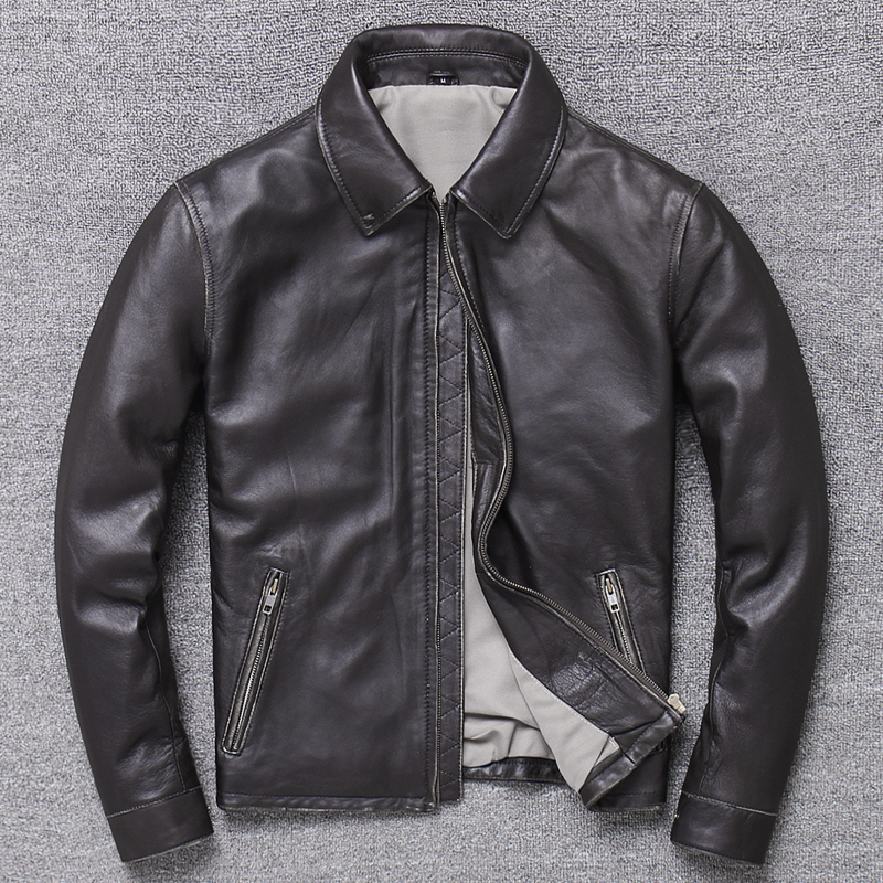 Free Shipping.classic Casual Style,Plus Size Soft Sheepskin Jacket,men Genuine Leather Coat.father's Gift Leather Coat,sales