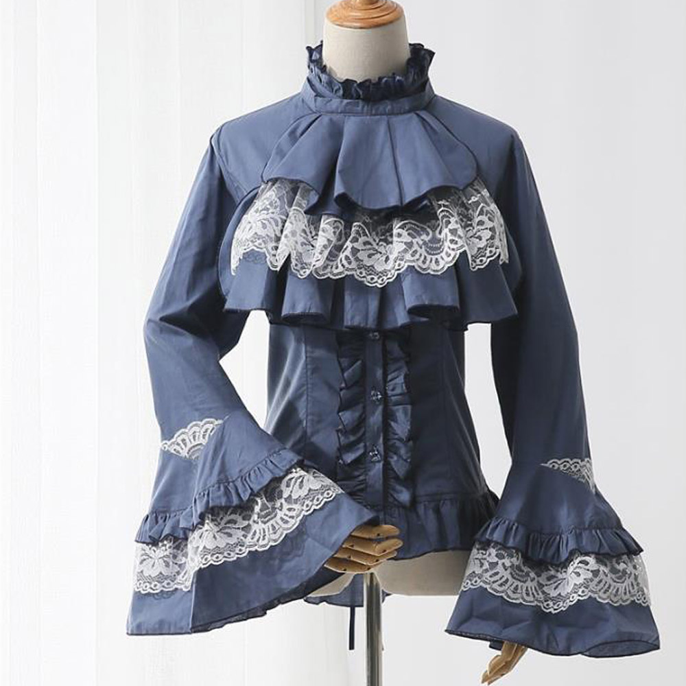 Women Steampunk Gothic Victorian Tops Vintage Lace Up Bandage Corset Blouse