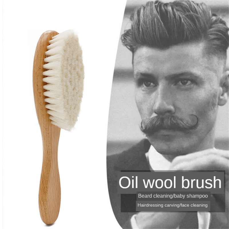Retro Oil Head Brush Soft Wooden Handle Carving Cleaning Brushes Wool Hair Brush Beard Hair Styling Cleaning Tools G0115