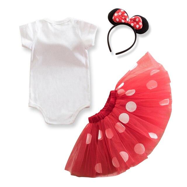 Vestido de fiesta de cumpleaños de lujo de 1 año, vestido de Minnie Mouse, disfraz para niños, tutú de lunares, ropa para bebés y niñas, ropa infantil