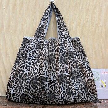 Large Size Reusable Shopping Bag Foldable Shopper Black Handbag Shoulder Bag Environmental Protection Bag Women's Handbag 1