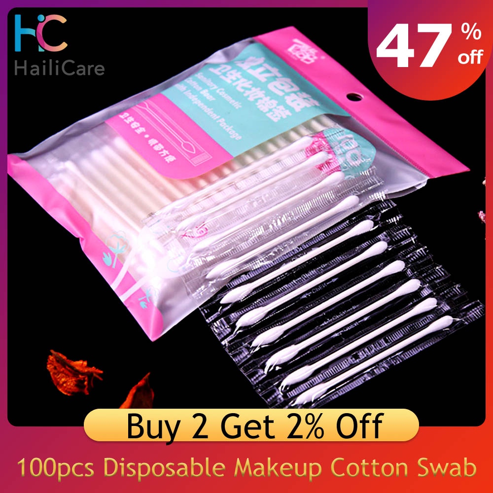 100pcs Disposable Travel Makeup Cotton Swab Double Tipped Cotton Buds Safe Cleaning Sterile Stick Earwax Remover Eye Makeup Tool