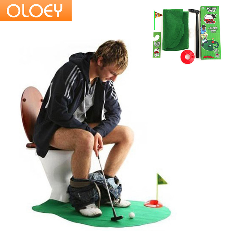 Toilet Golf Putter Set Bathroom Game Mini Golf Set Golf Putting Novelty Set - Play Golf in the Toilet Bathroom Accessories Sets