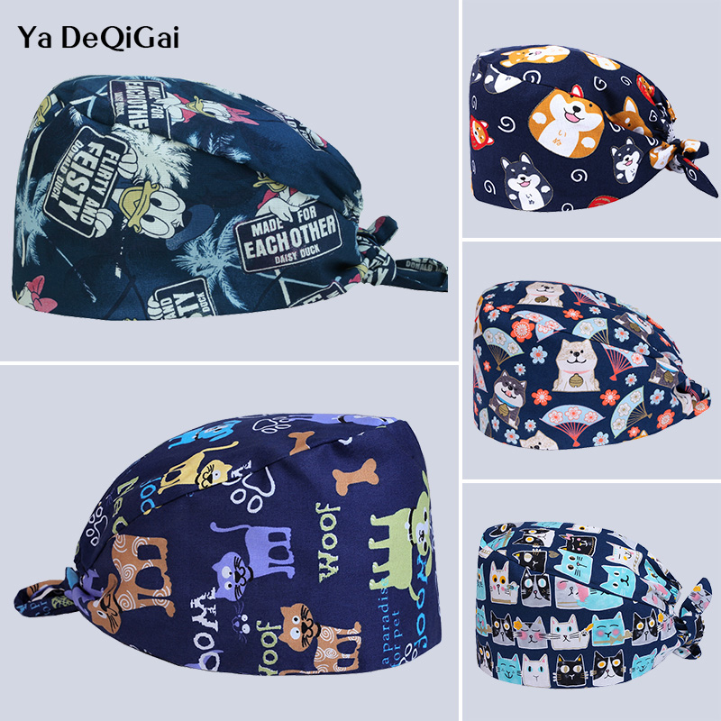 Pet Hospital Doctor Nurse Cap High Quality Printed Surgical Cap Medical Adjustable Cap Dentistry Hats Work Cap Men And Women New